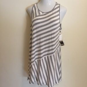 Kensie Women's Sleeveless Shirt Dress Striped XL